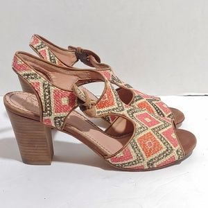 Anthro miss Albright stacked heels